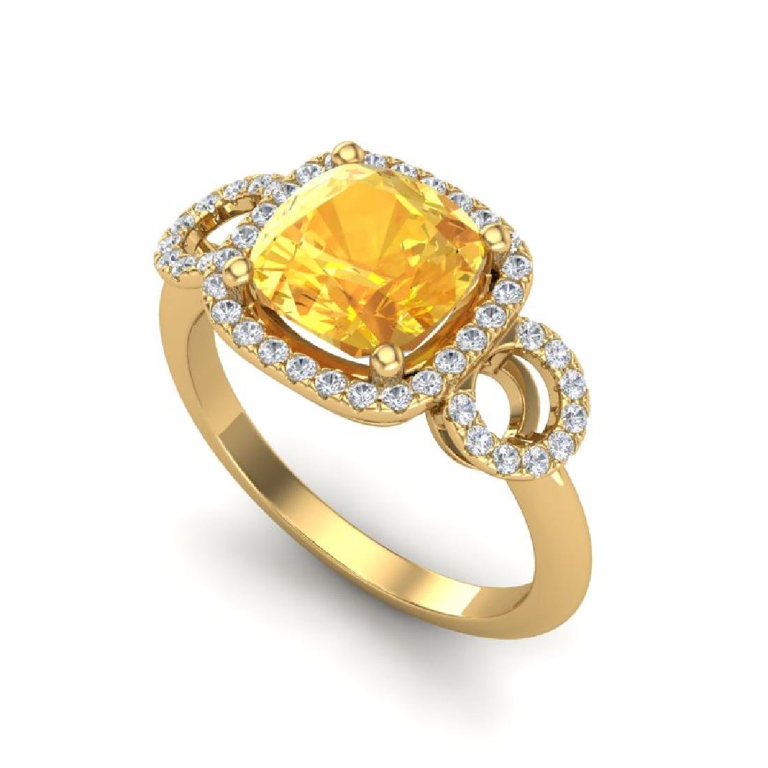 3.75 CTW Citrine & Micro VS/SI Diamond Ring 18K Yellow - 2