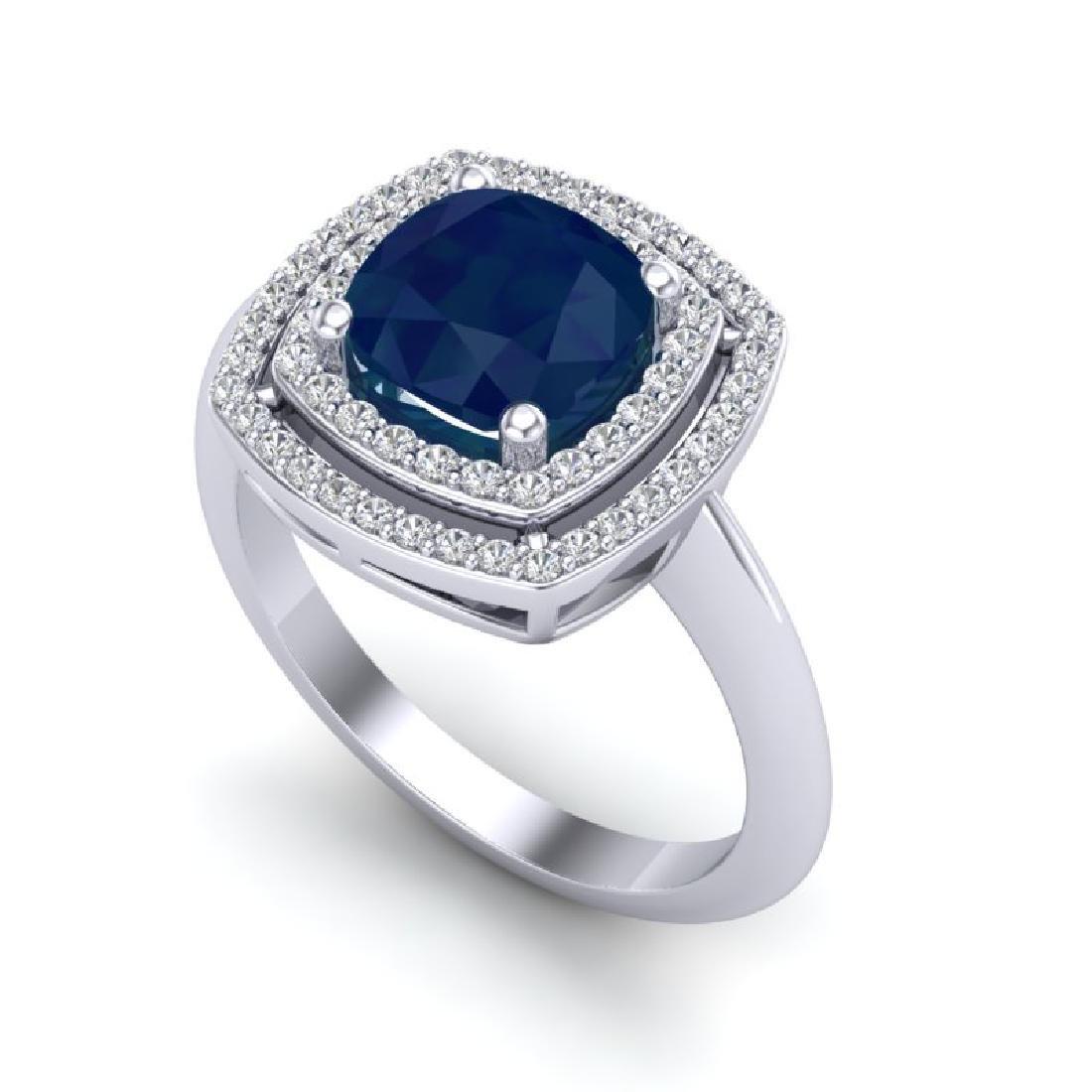 2.52 CTW Sapphire & Micro VS/SI Diamond Pave Halo Ring - 2