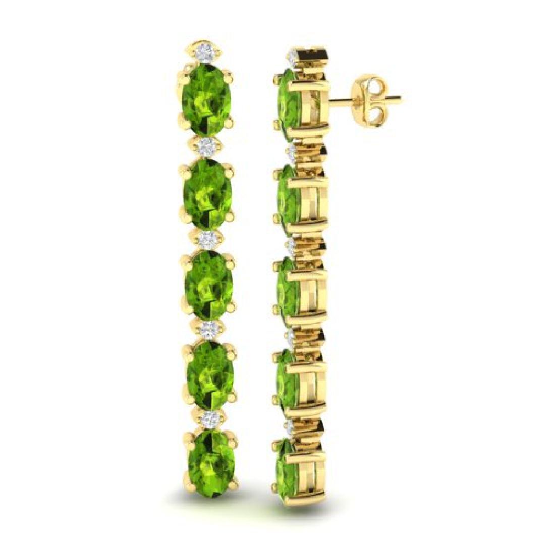 6 CTW Peridot & VS/SI Diamond Tennis Earrings Yellow - 2