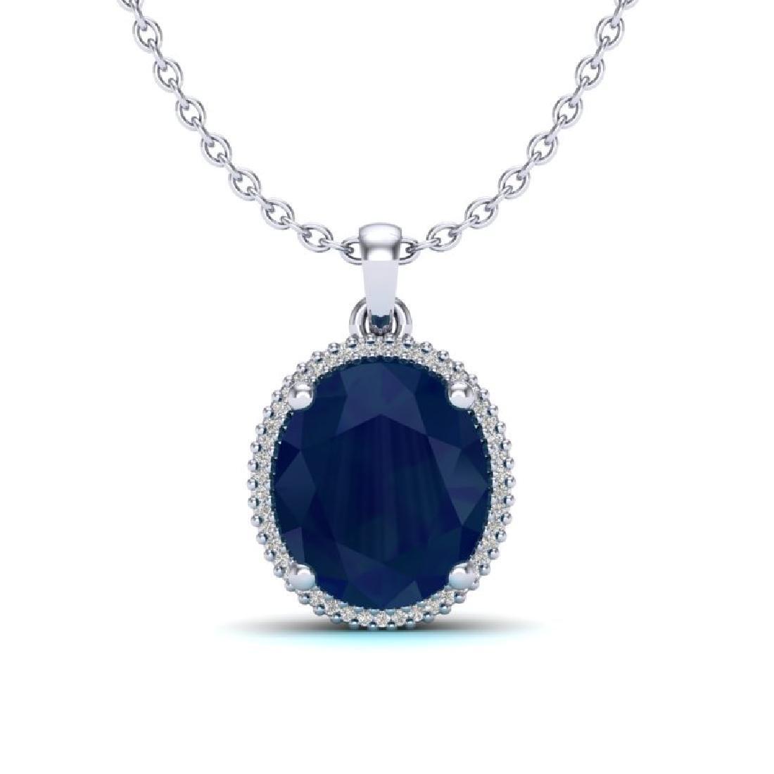 12 CTW Sapphire & Micro Pave VS/SI Diamond Halo