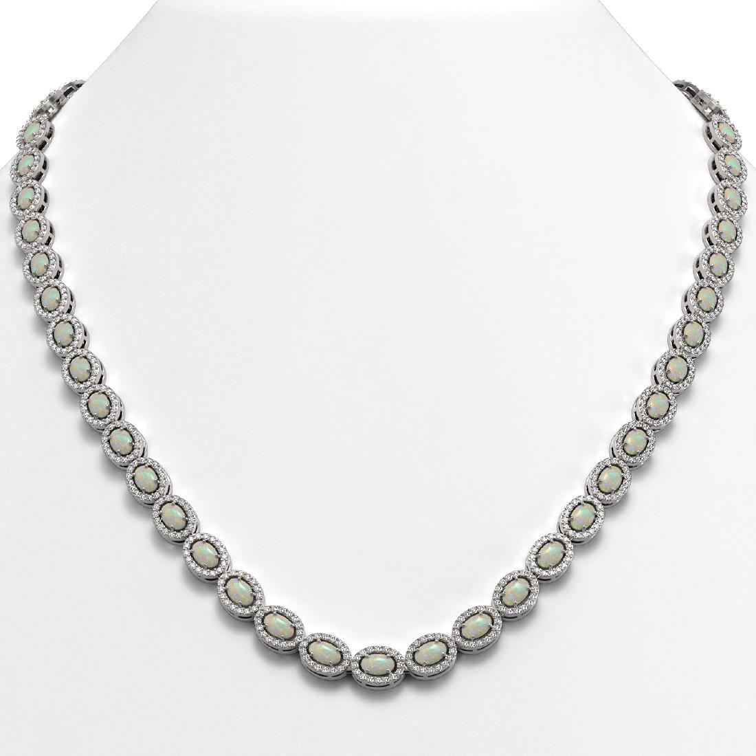 20.22 CTW Opal & Diamond Halo Necklace 10K White Gold