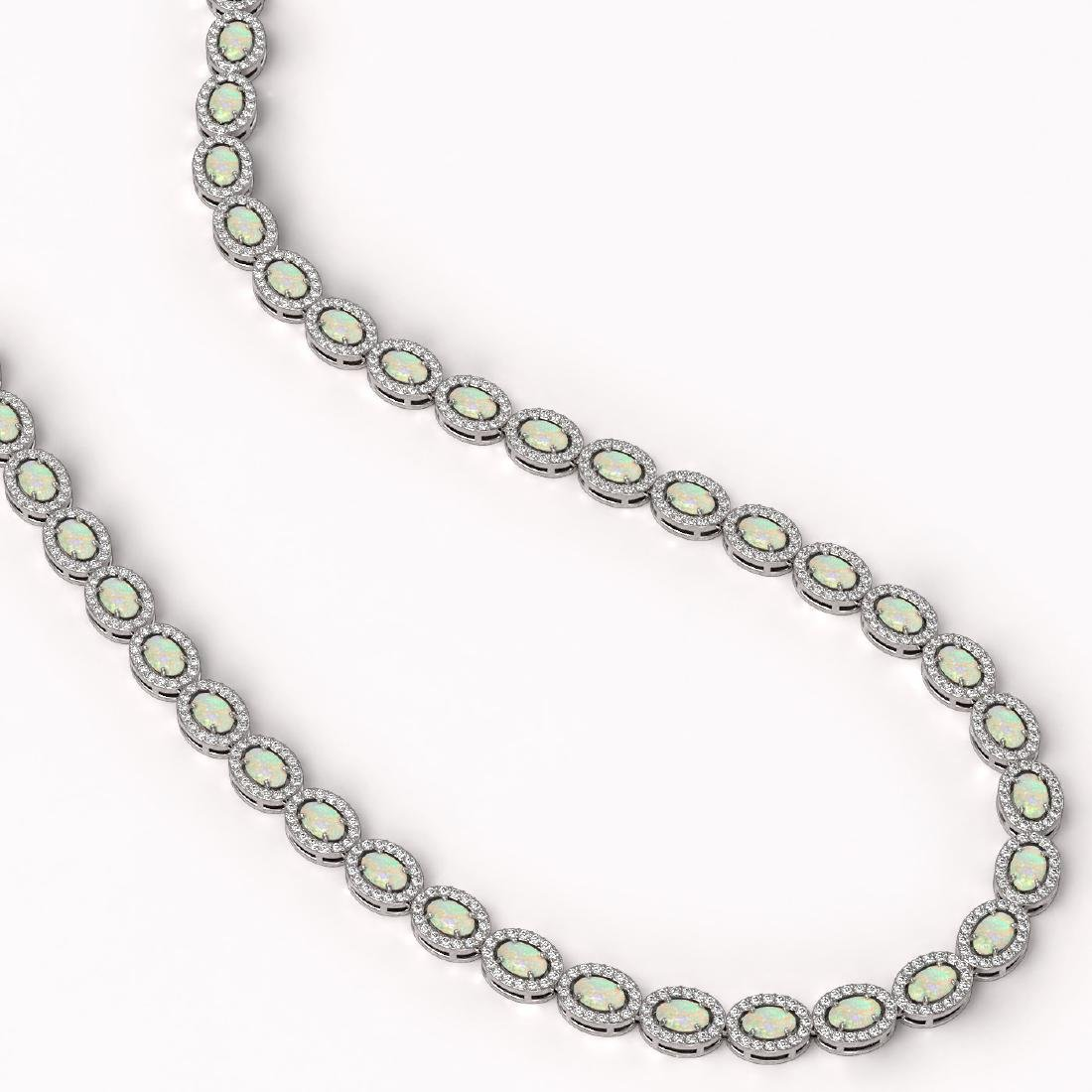 20.22 CTW Opal & Diamond Halo Necklace 10K White Gold - 2