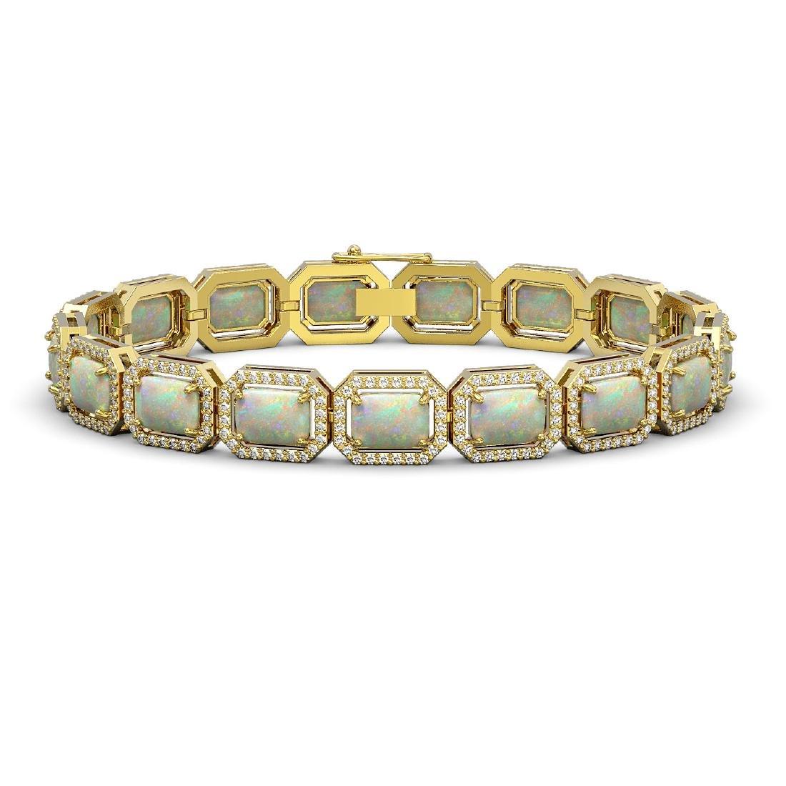 16.86 CTW Opal & Diamond Halo Bracelet 10K Yellow Gold
