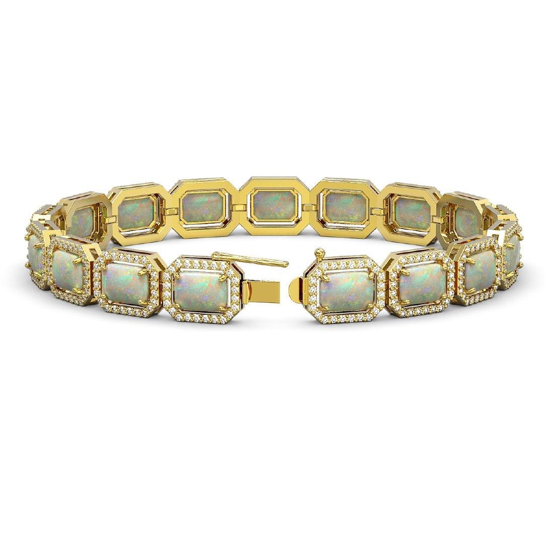 16.86 CTW Opal & Diamond Halo Bracelet 10K Yellow Gold - 2