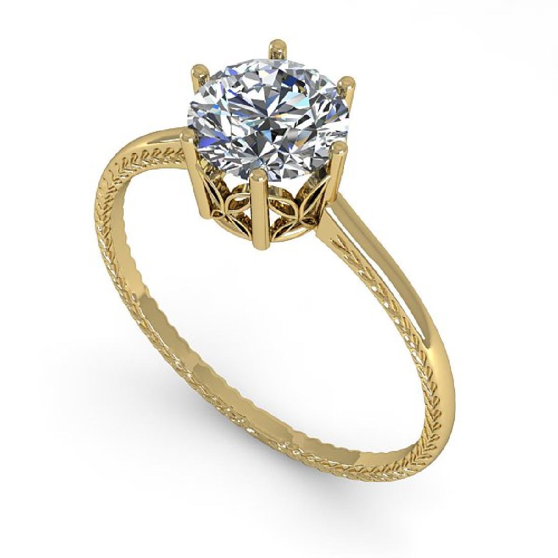 1.01 CTW Certified VS/SI Diamond Art Deco Ring 14K - 2