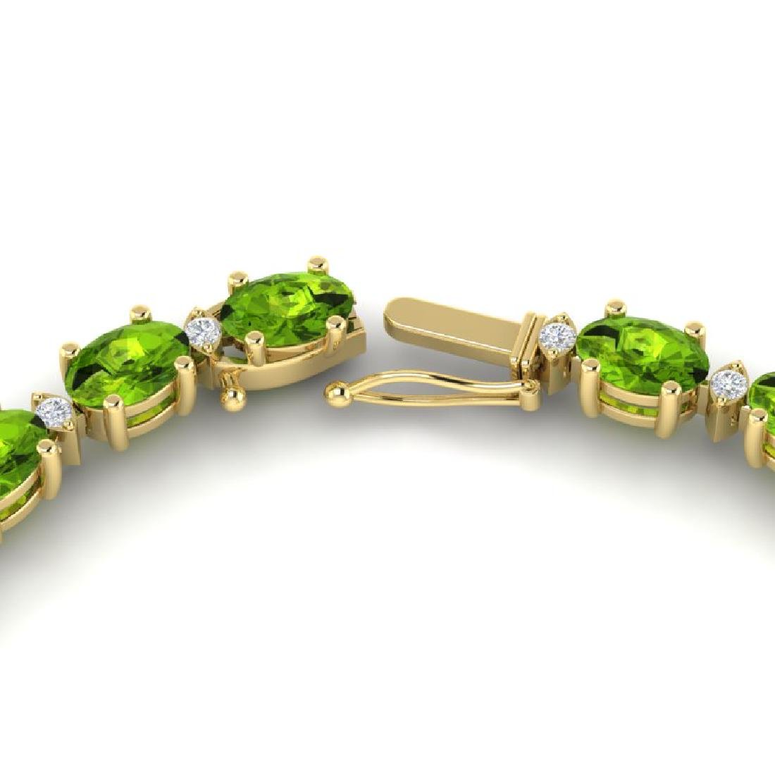 34 CTW Peridot & VS/SI Diamond Tennis Necklace White