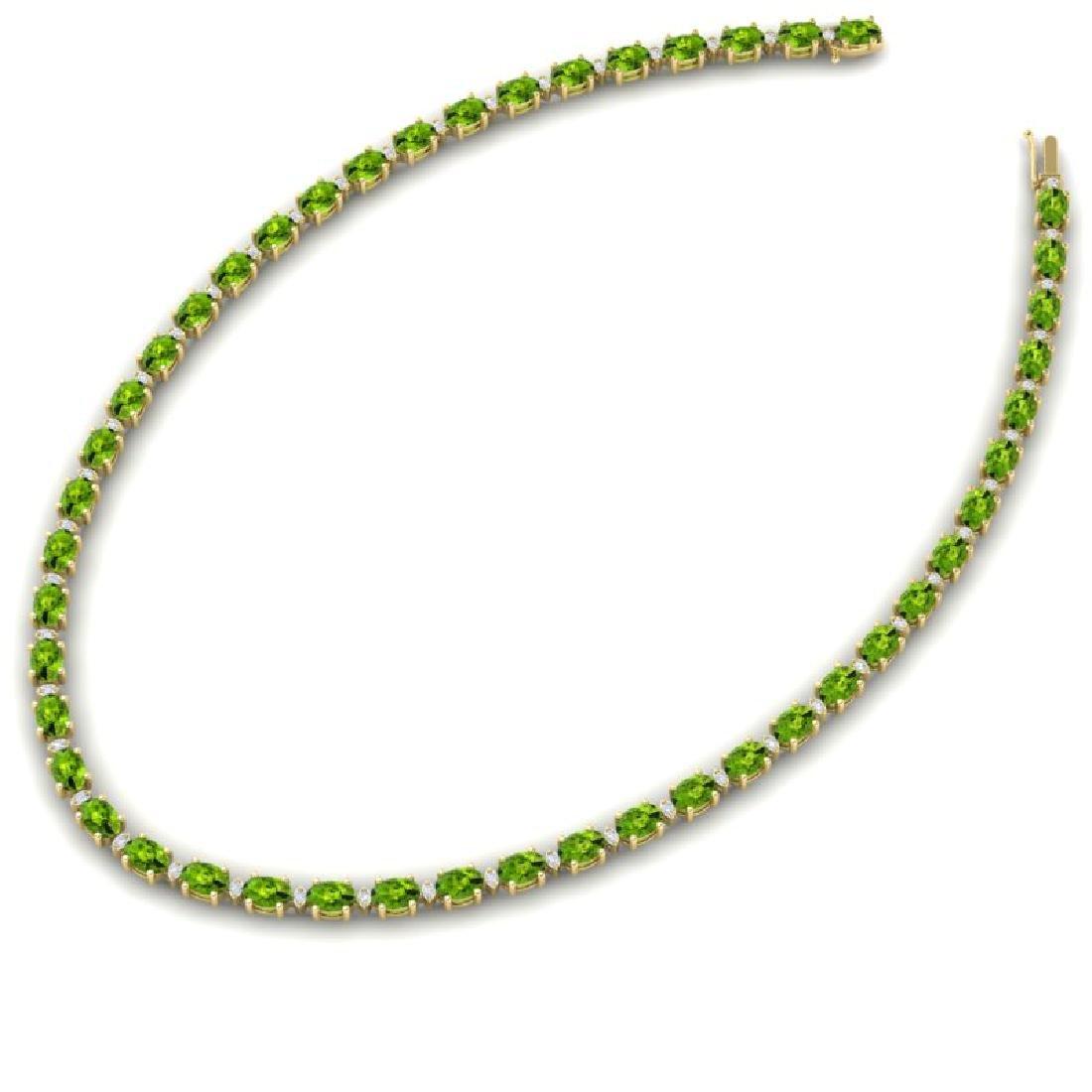 34 CTW Peridot & VS/SI Diamond Tennis Necklace White - 2