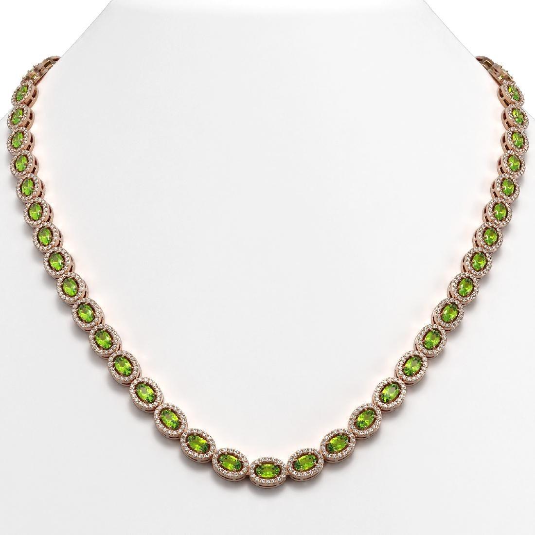 23.86 CTW Peridot & Diamond Halo Necklace 10K Rose Gold