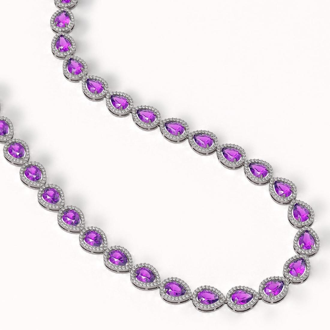 35.13 CTW Amethyst & Diamond Halo Necklace 10K White - 2
