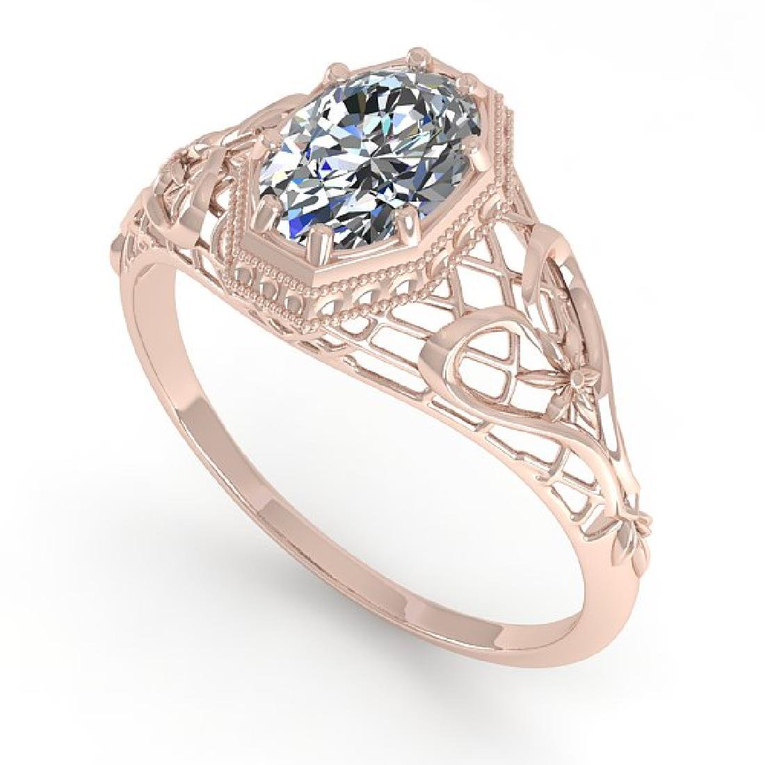 1.0 CTW VS/SI Oval Diamond Solitaire Ring Art Deco 14K - 2