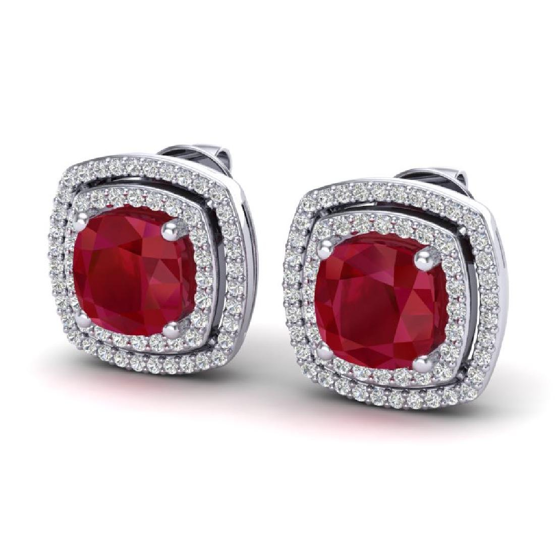 4.95 CTW Ruby & Micro Pave VS/SI Diamond Halo Earrings