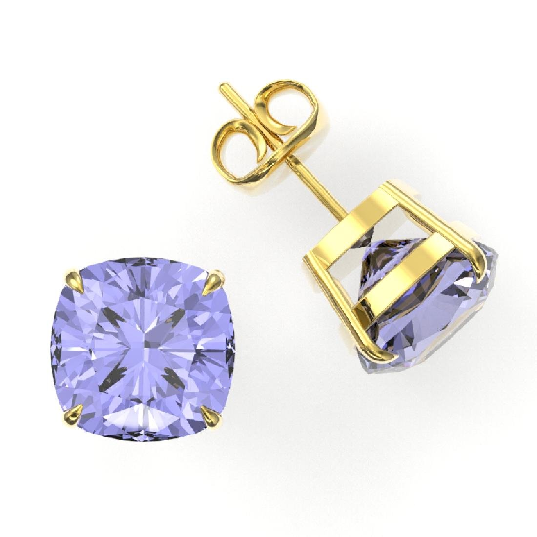 12 CTW Cushion Cut Tanzanite Designer Solitaire Stud - 2