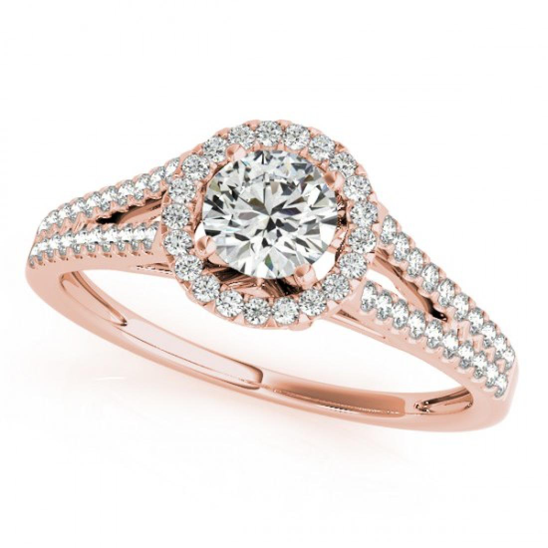 0.8 CTW Certified VS/SI Diamond Solitaire Halo Ring 14K