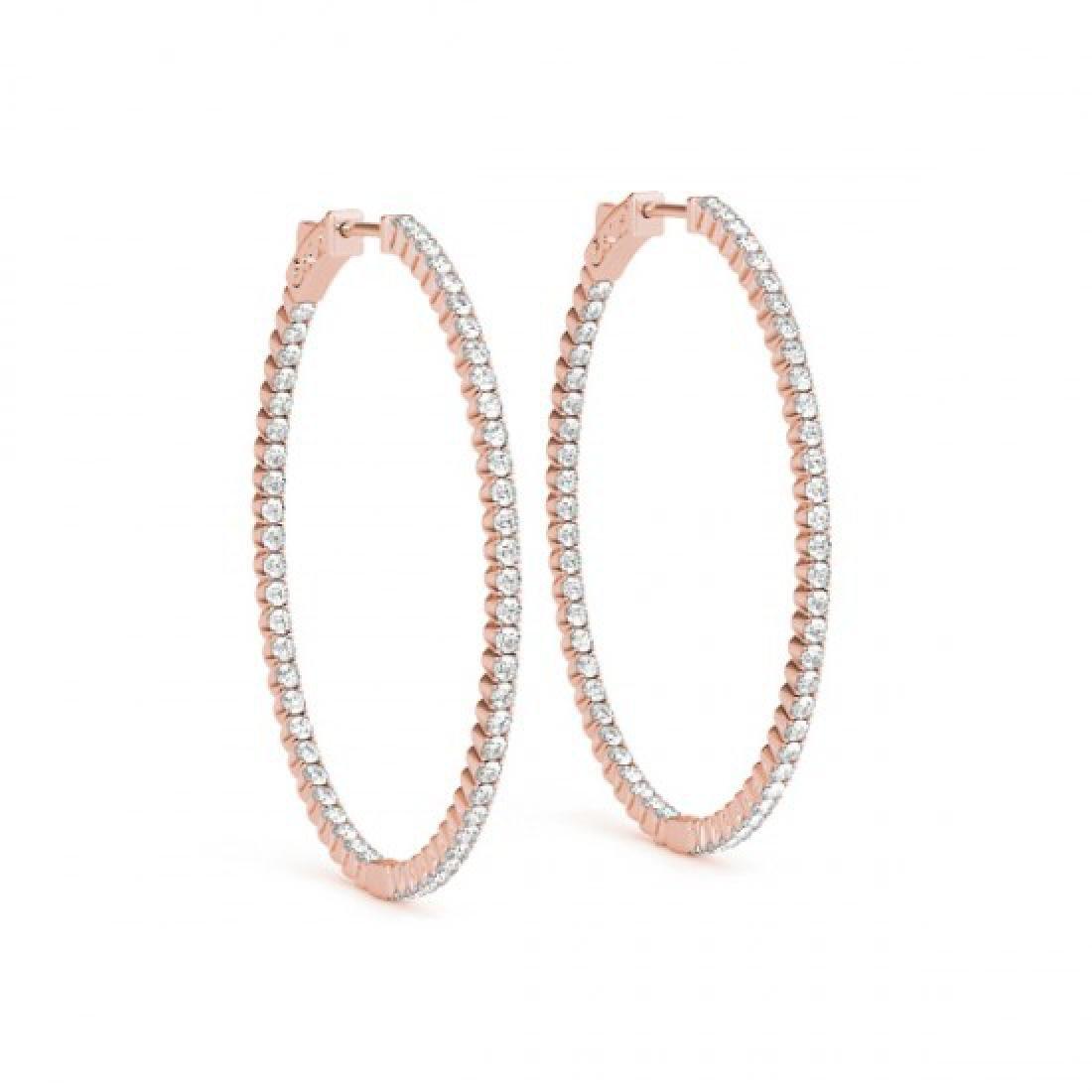 3 CTW Diamond VS/SI Certified 36 Mm Hoop Earrings 14K - 2