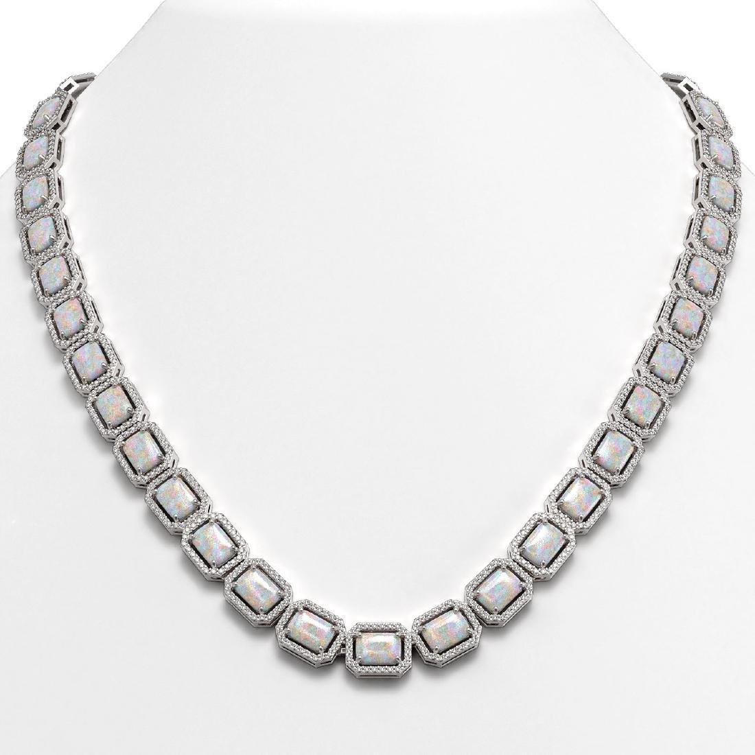 37.69 CTW Opal & Diamond Halo Necklace 10K White Gold