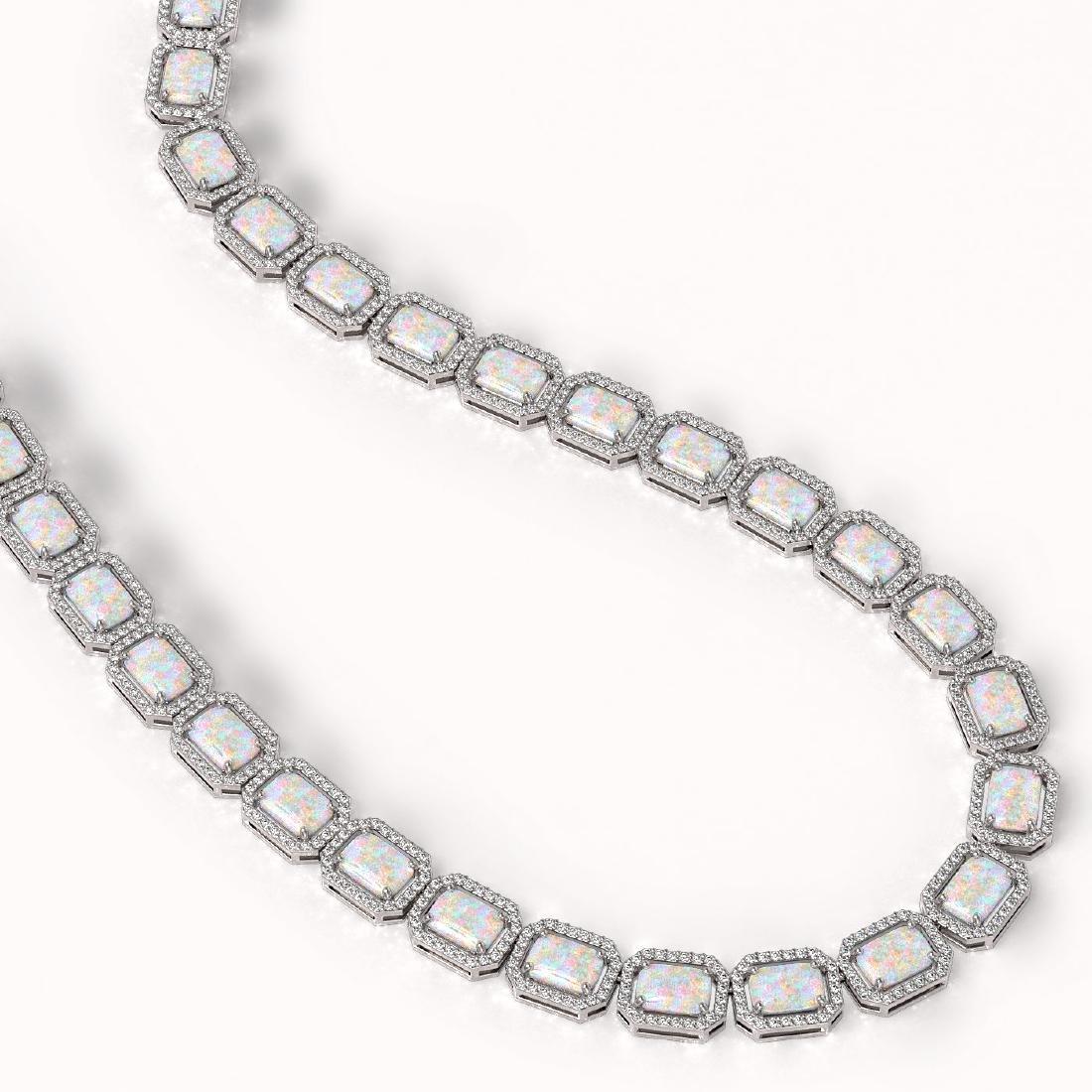 37.69 CTW Opal & Diamond Halo Necklace 10K White Gold - 2