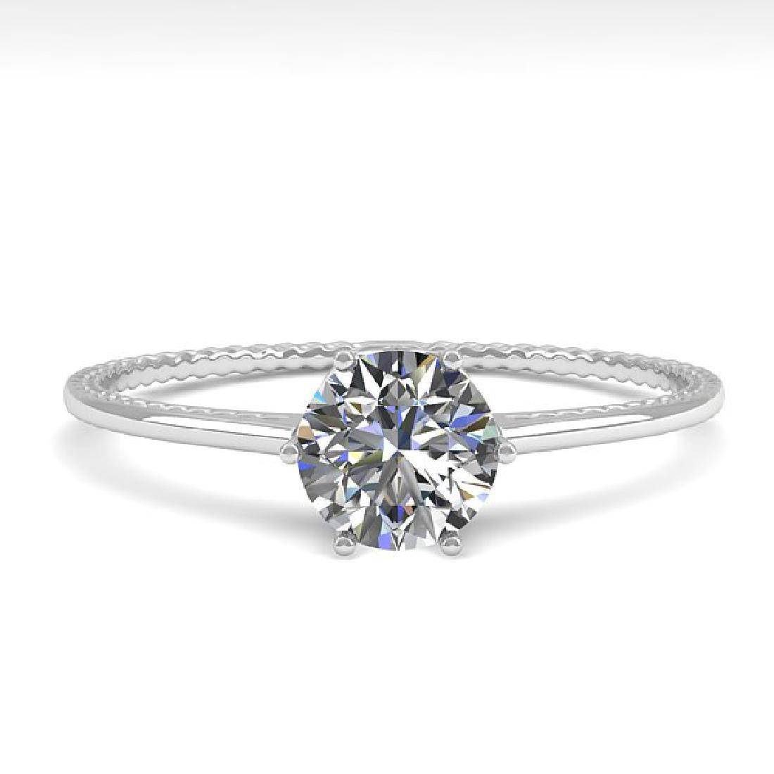 0.50 CTW VS/SI Diamond Art Deco Ring 14K White Gold