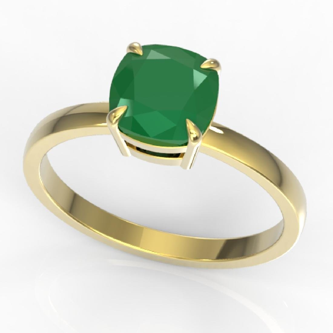 2 CTW Cushion Cut Emerald Solitaire Engagement Ring 18K - 2