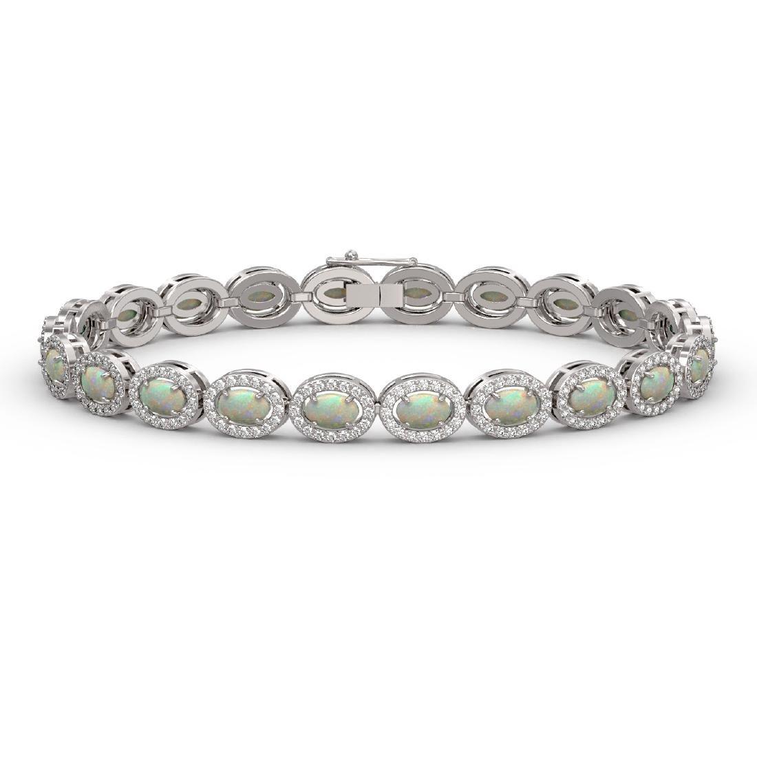 8.28 CTW Opal & Diamond Halo Bracelet 10K White Gold
