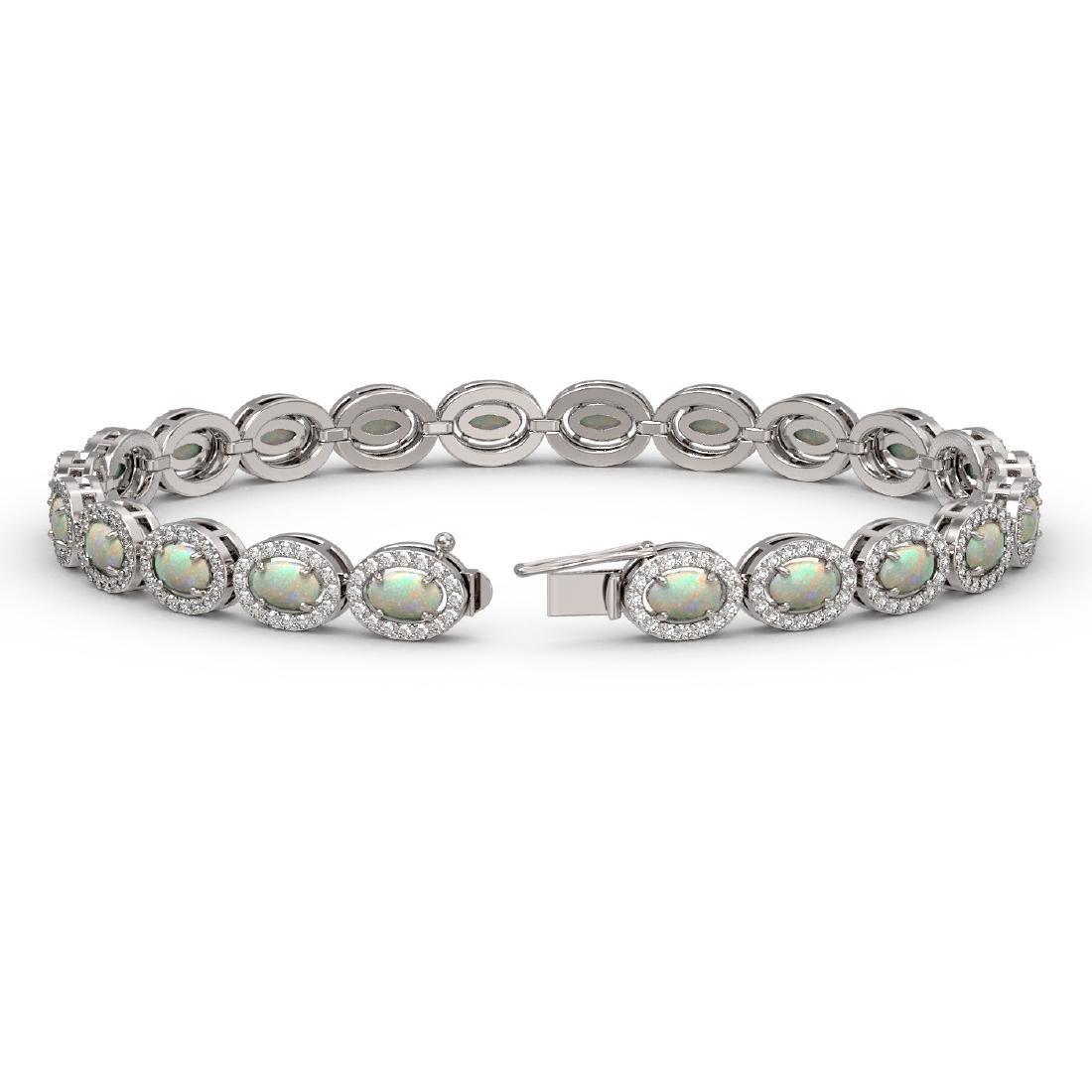 8.28 CTW Opal & Diamond Halo Bracelet 10K White Gold - 2
