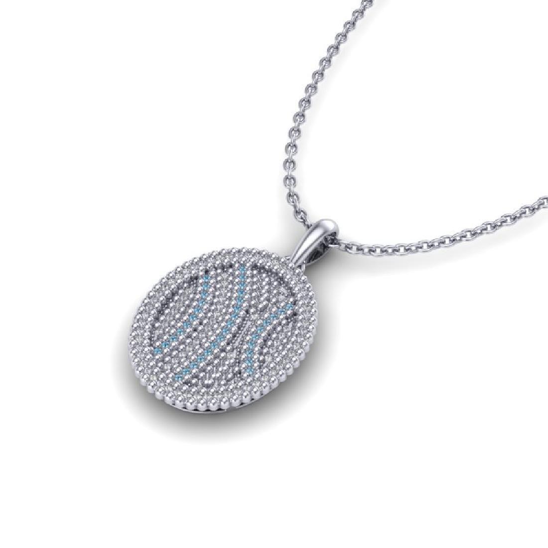 1 CTW Micro Pave Blue & White VS/SI Diamond Necklace - 2