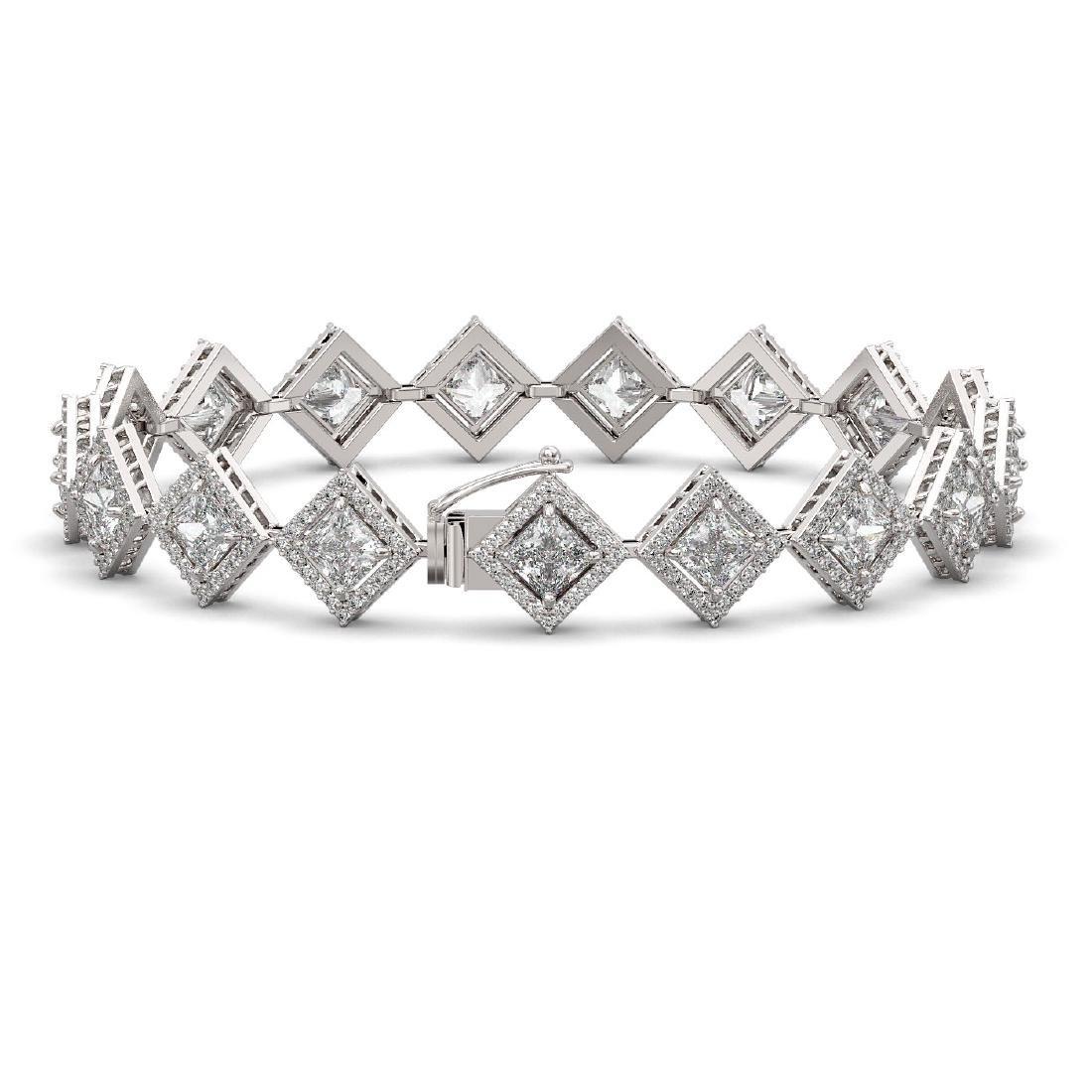 11.7 CTW Princess Cut Diamond Designer Bracelet 18K - 2