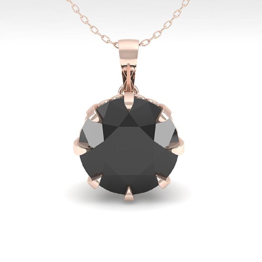 2.0 CTW Black VS/SI Diamond Solitaire Necklace 14K Rose - 2