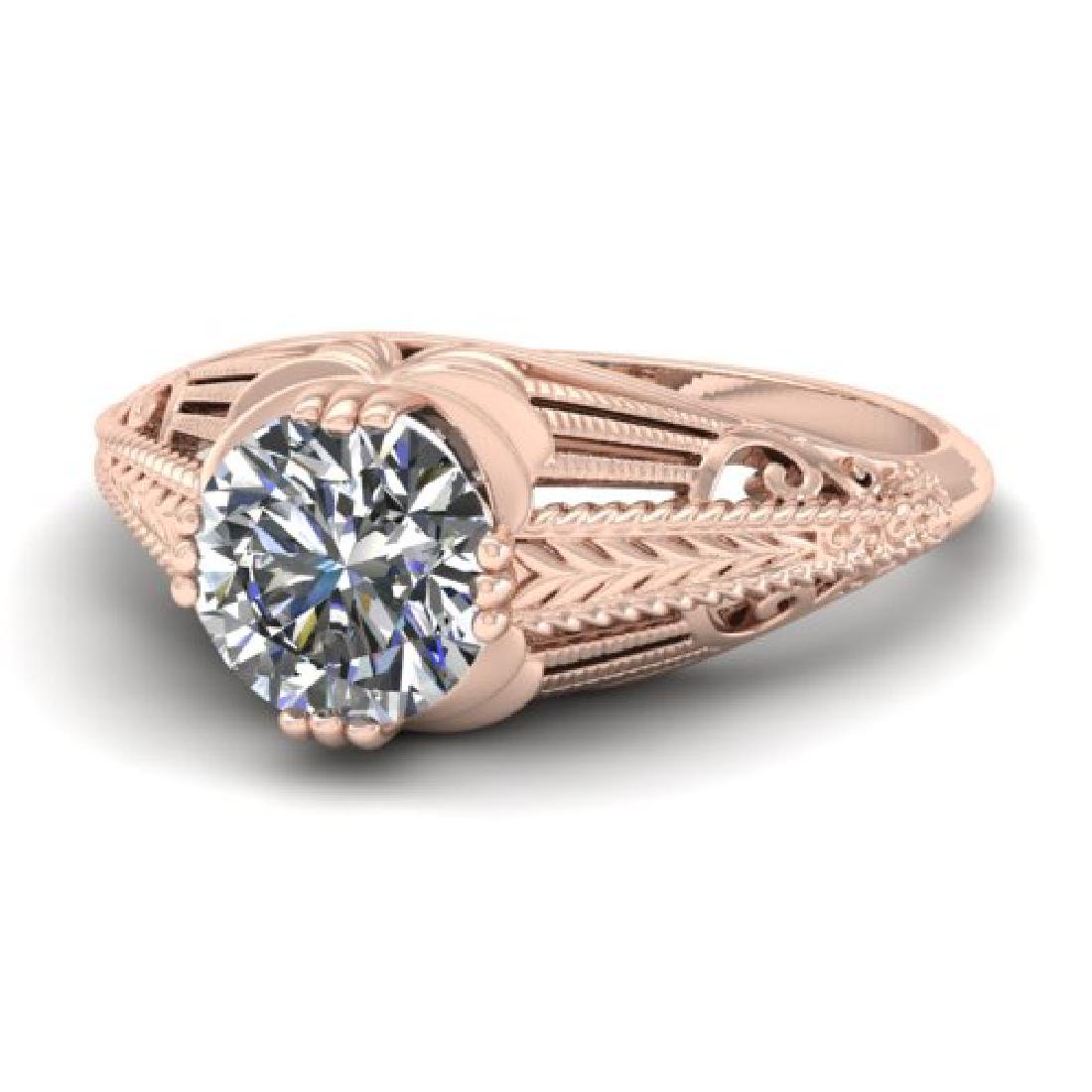 1 CTW Solitaire Certified VS/SI Diamond Ring 18K Rose - 2