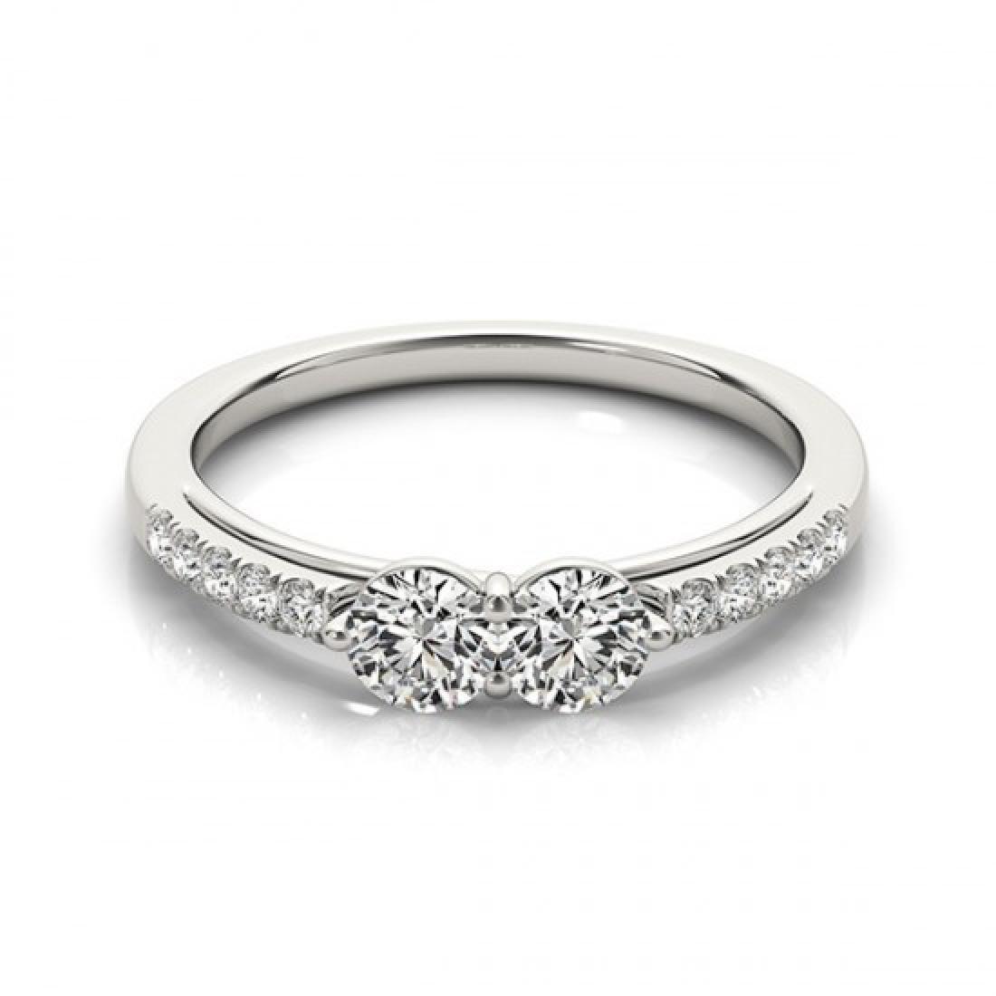 0.85 CTW Certified VS/SI Diamond 2 Stone 2 Stone Ring