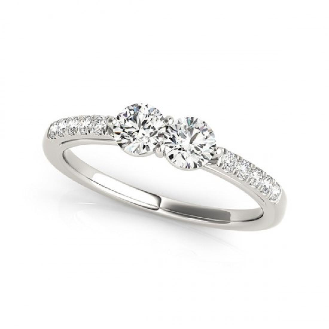 0.85 CTW Certified VS/SI Diamond 2 Stone 2 Stone Ring - 2