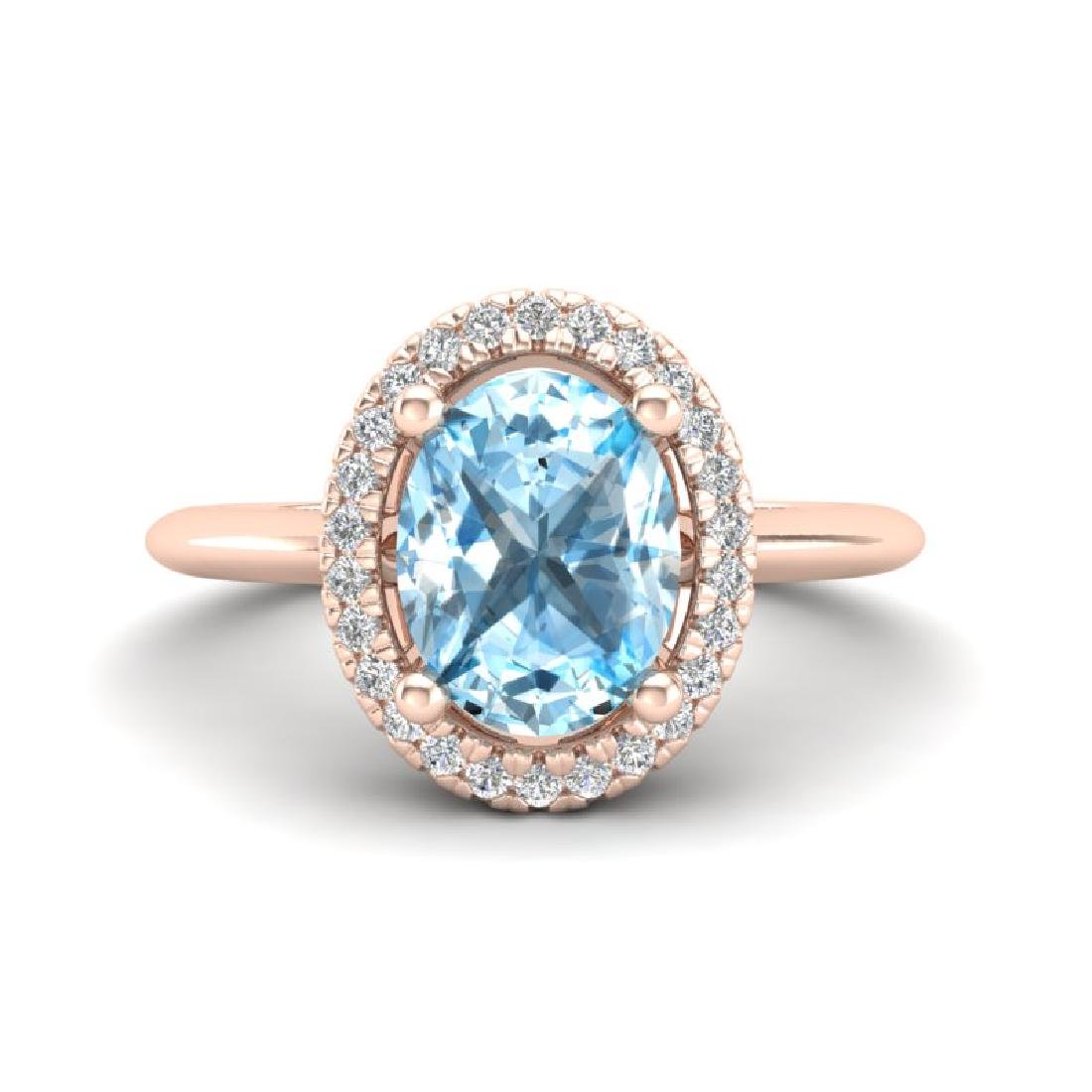 2 CTW Sky Blue Topaz & Micro VS/SI Diamond Ring Halo
