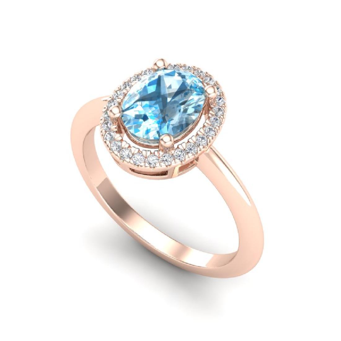 2 CTW Sky Blue Topaz & Micro VS/SI Diamond Ring Halo - 2