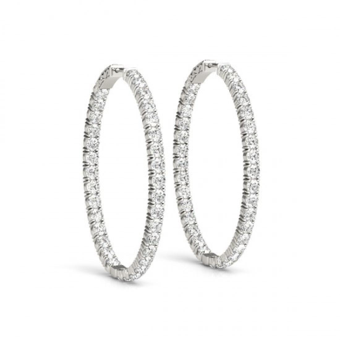 8 CTW Diamond VS/SI Certified 32 Mm Hoop Earrings 14K - 2