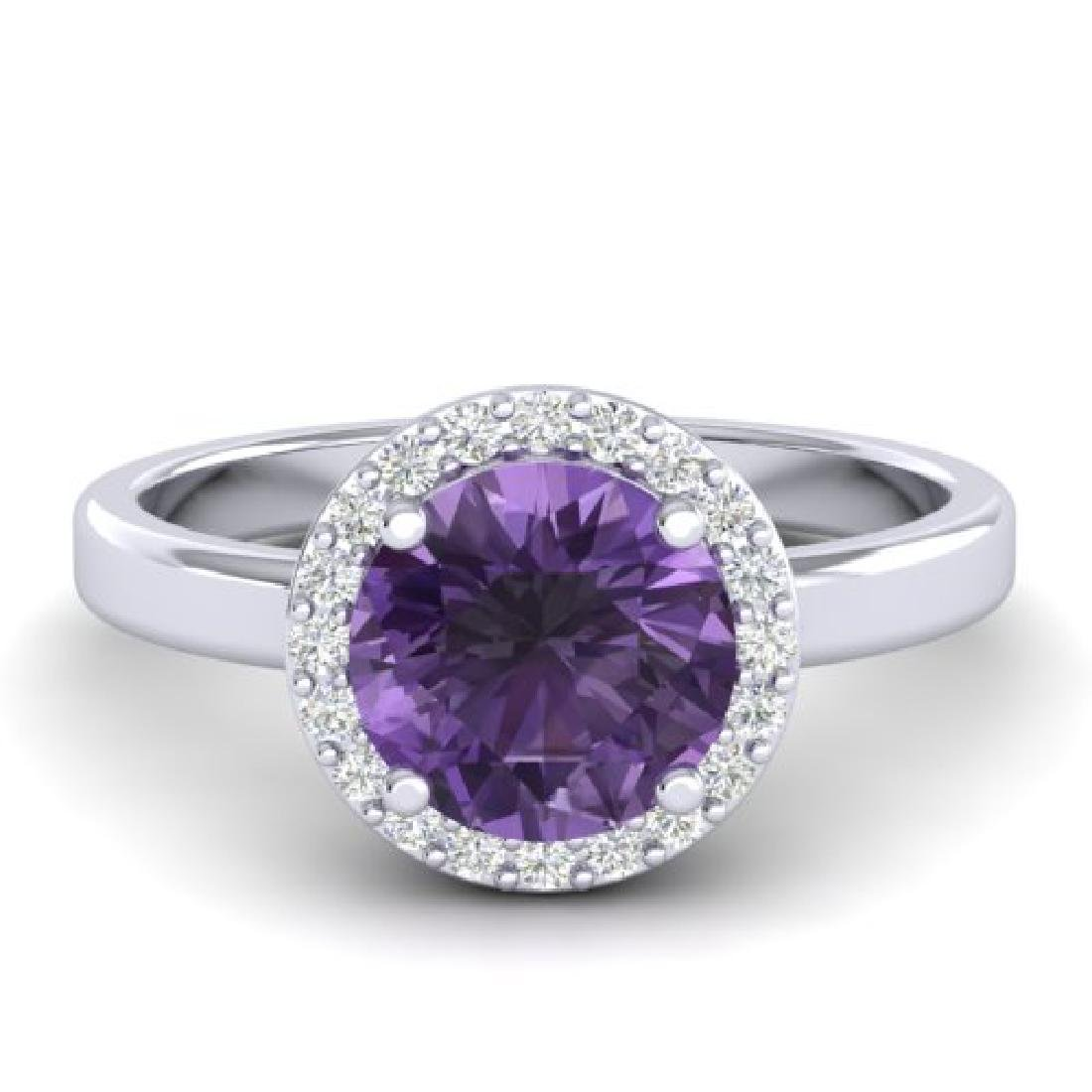 2 CTW Amethyst & Halo VS/SI Diamond Micro Pave Ring 18K