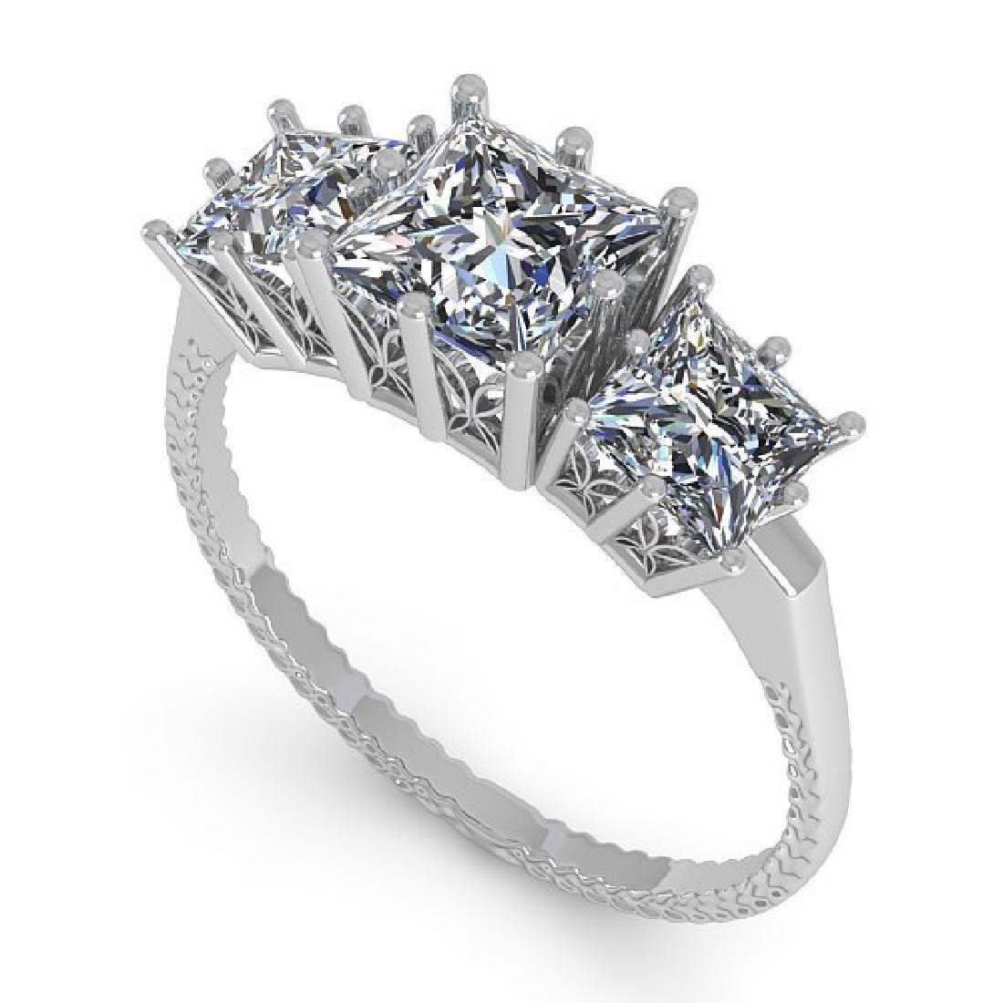 2.0 CTW VS/SI Princess Diamond Art Deco Ring 14K White - 2