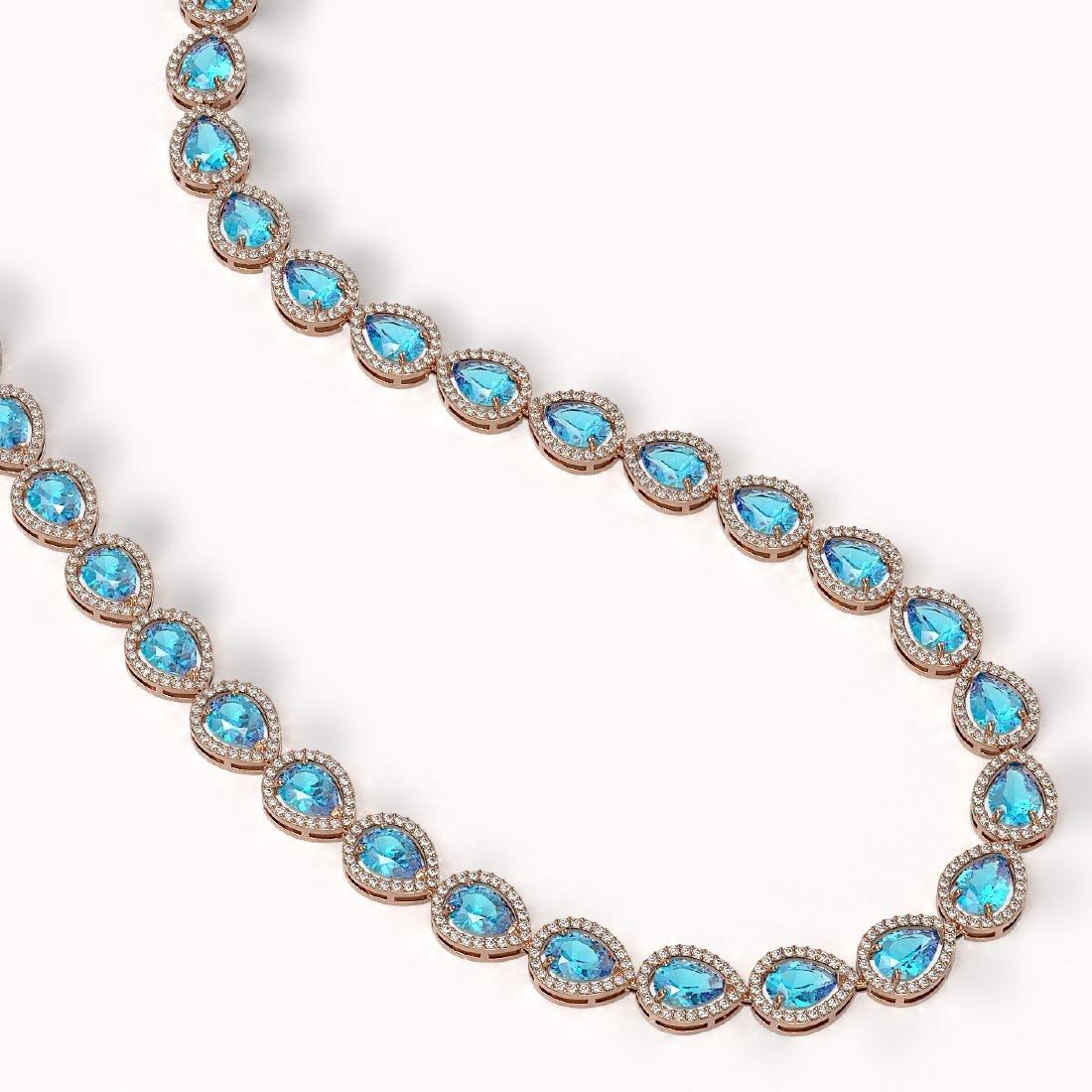 35.13 CTW Swiss Topaz & Diamond Halo Necklace 10K Rose - 2