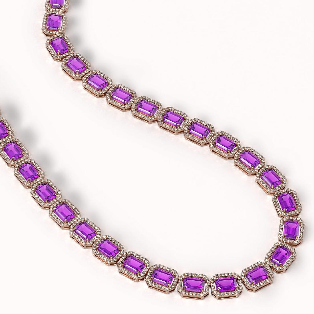 50.99 CTW Amethyst & Diamond Halo Necklace 10K Rose - 2
