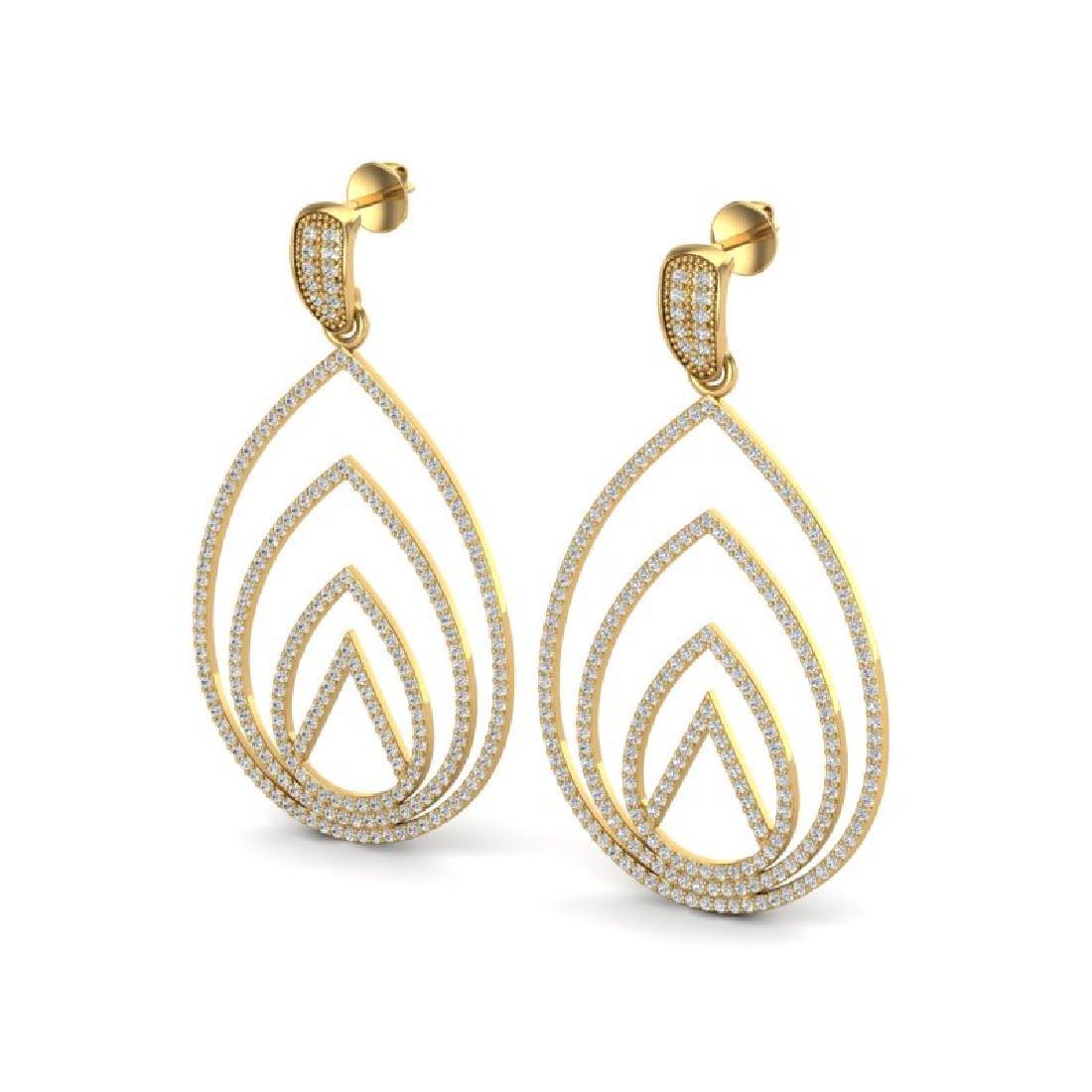 2.50 CTW Micro Pave VS/SI Diamond Designer Earrings 18K