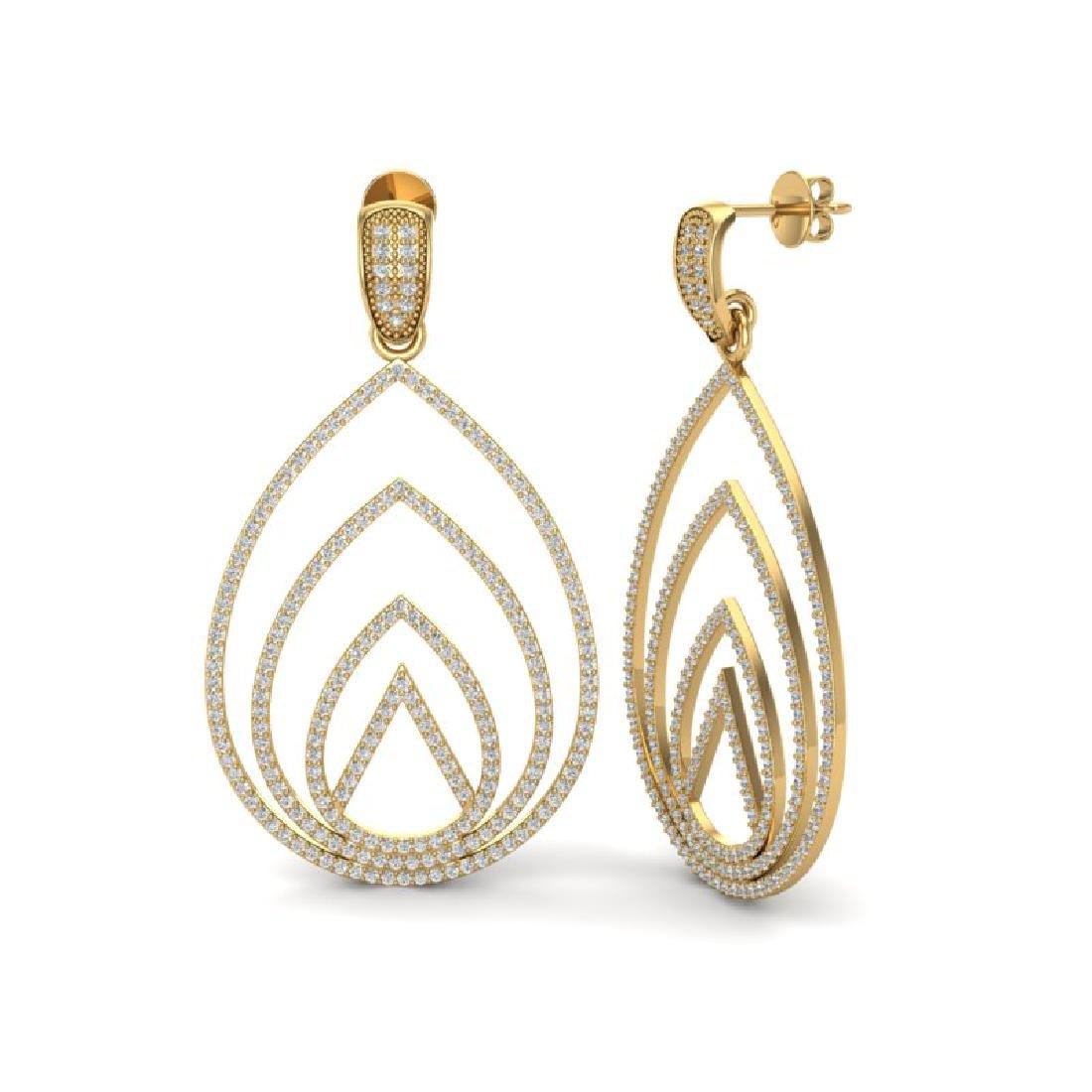 2.50 CTW Micro Pave VS/SI Diamond Designer Earrings 18K - 2