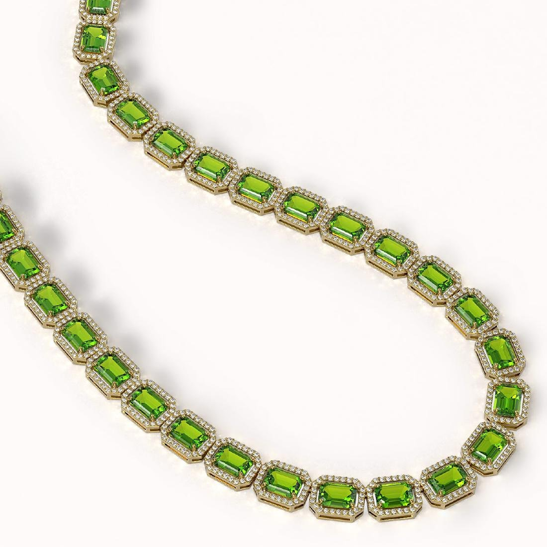 57.3 CTW Peridot & Diamond Halo Necklace 10K Yellow - 2