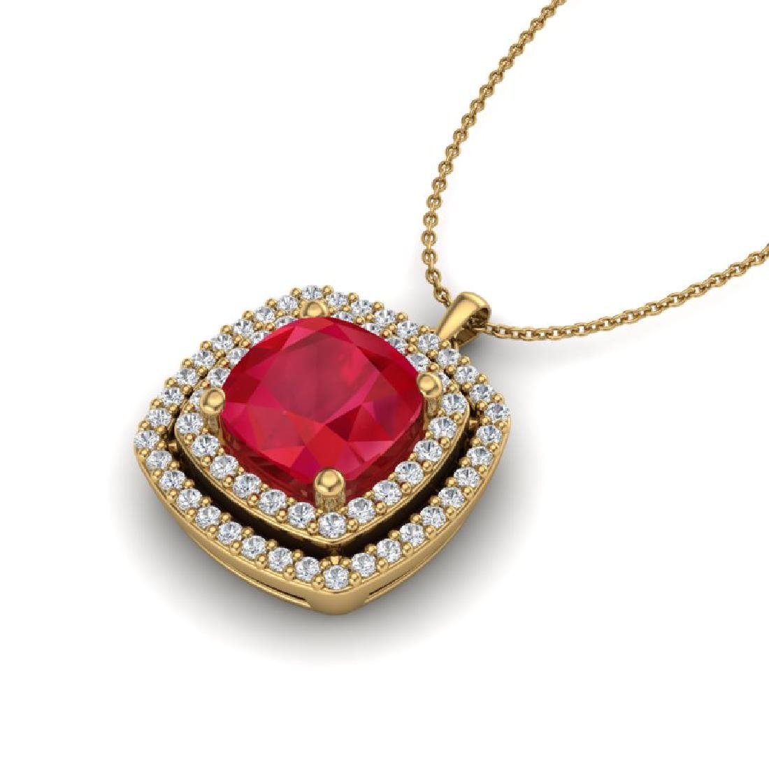 2.52 CTW Ruby & Micro Pave VS/SI Diamond Halo Necklace - 2
