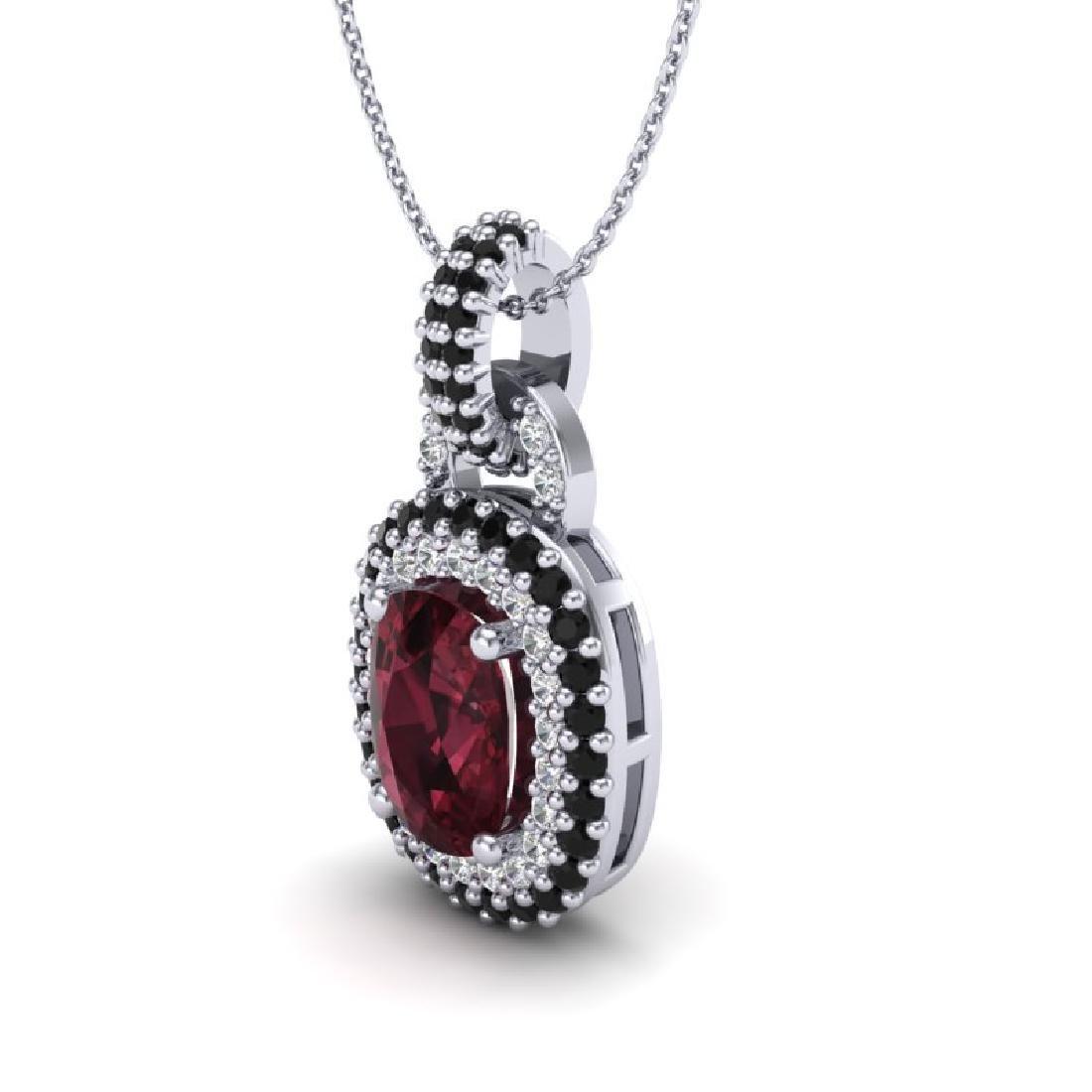 2.50 CTW Garnet With Black Micro VS/SI Diamond Necklace - 2