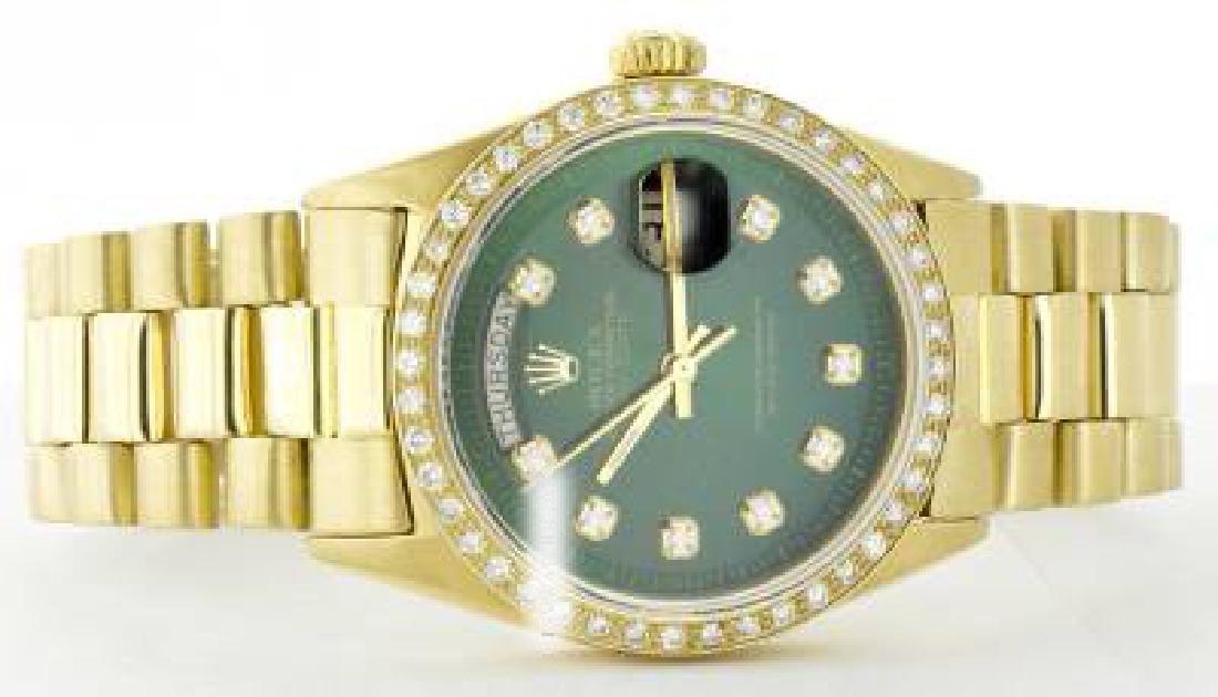 Rolex Men's 18K Yellow President, QuickSet, Diamond - 2