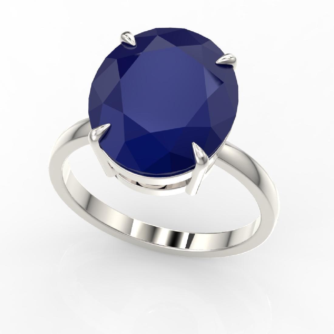 9 CTW Sapphire Designer Solitaire Engagement Ring 18K - 2