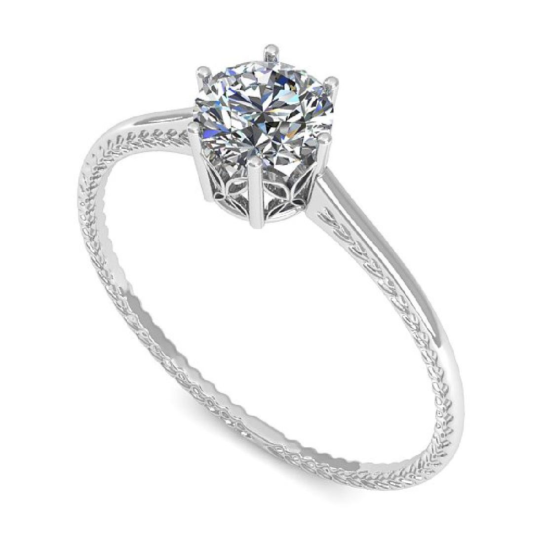 0.51 CTW VS/SI Diamond Art Deco Ring 14K White Gold - 2