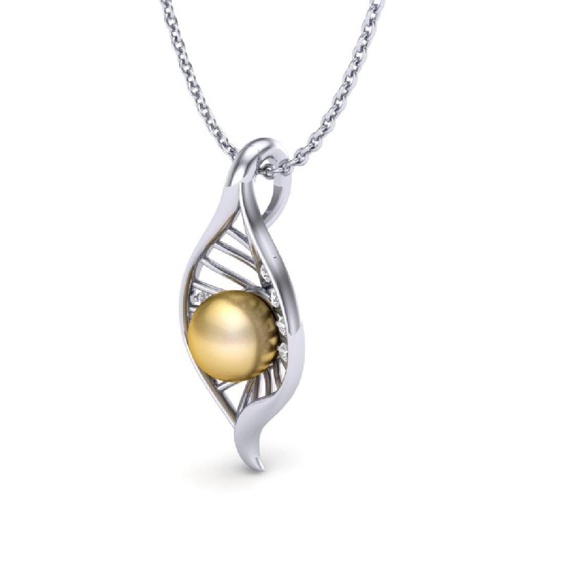 0.31 CTW VS/SI Diamond Golden Pearl Necklace 14K White - 2