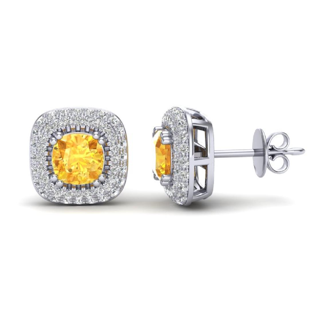 2.16 CTW Citrine & Micro VS/SI Diamond Earrings Halo - 2
