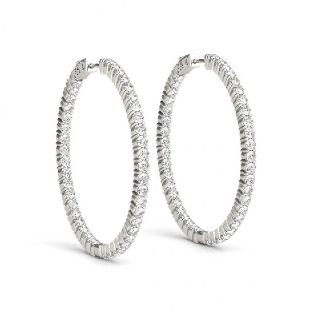 1.5 CTW Diamond VS/SI Certified 20 Mm Hoop Earrings 14K - 2