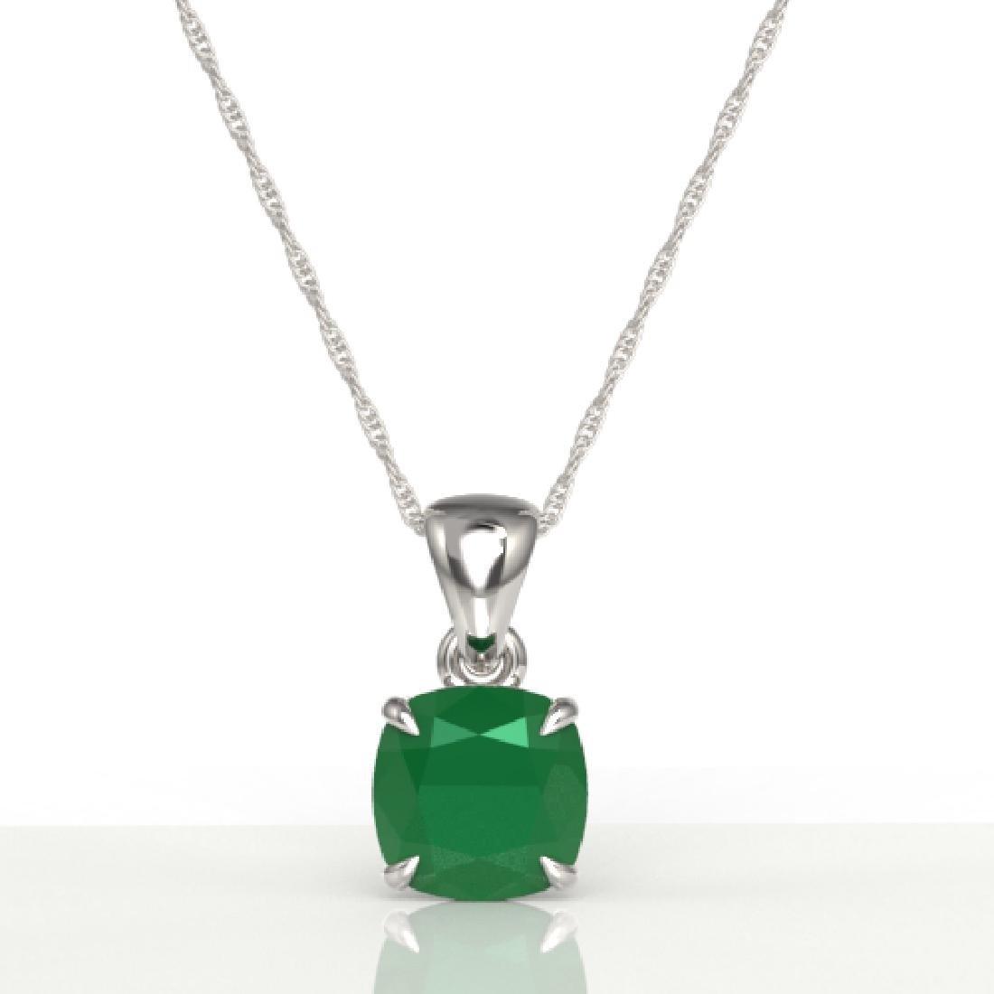 2 Cushion Cut CTW Emerald Designer Solitaire Necklace - 2