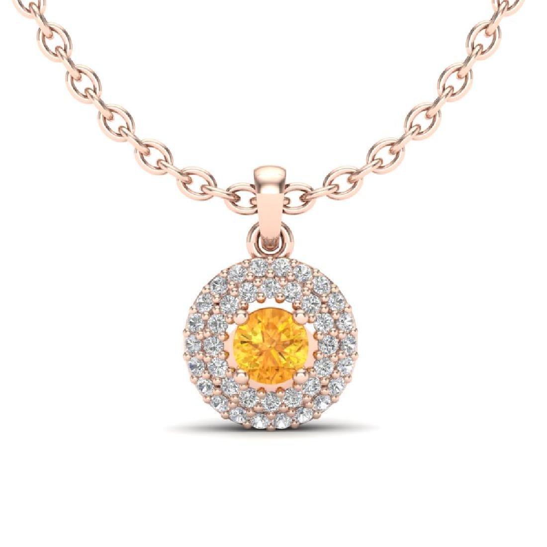 0.60 CTW Citrine & Micro VS/SI Diamond Necklace 14K